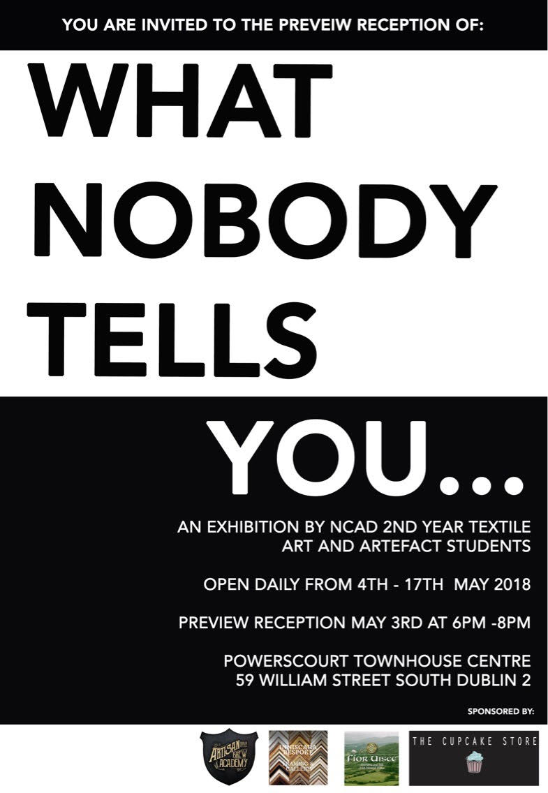 Exhibition by 2nd Year NCAD Textile Art and Artefact Students